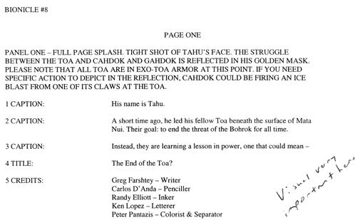 BIONICLE #8 Script Pg. 1