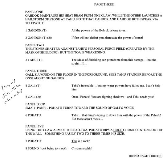 BIONICLE #8 Script Pg. 3