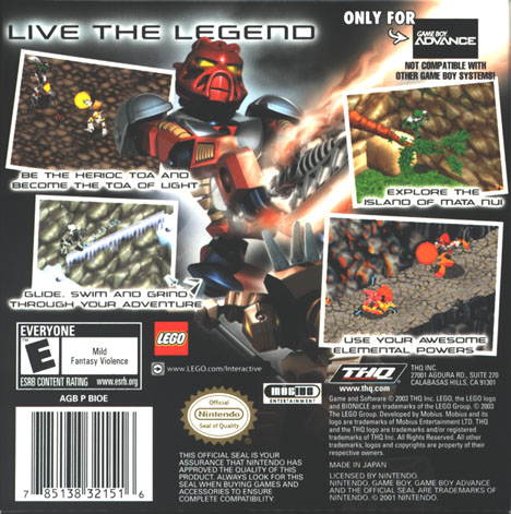 BIONICLE�: GBA Back Cover