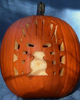 Pumpkin carved with Mask Of Light - daytime view